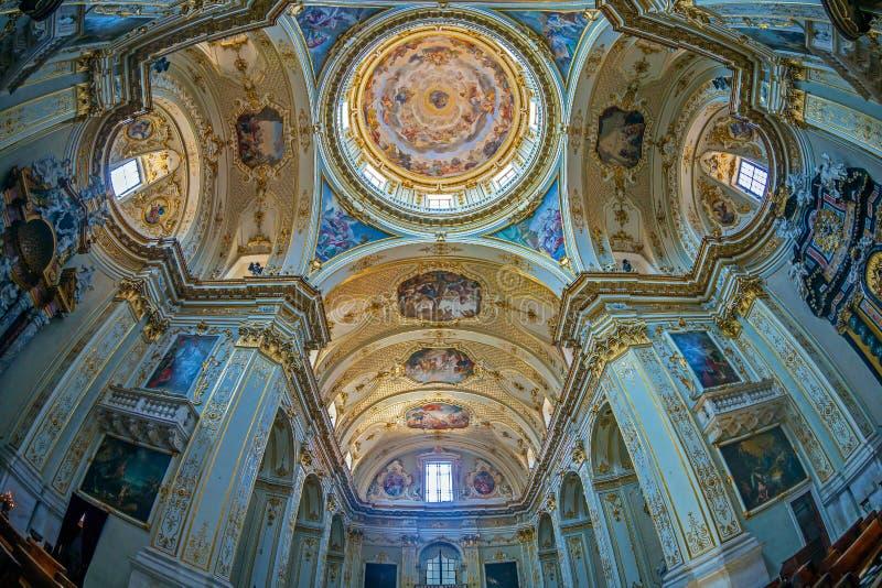 Interior of Cattedrale di Sant Alessandro, Bergamo, Italy. BERGAMO, ITALY - JUNE 30, 2019: Interior of Cattedrale di Sant Alessandro, a Roman Catholic cathedral stock photo
