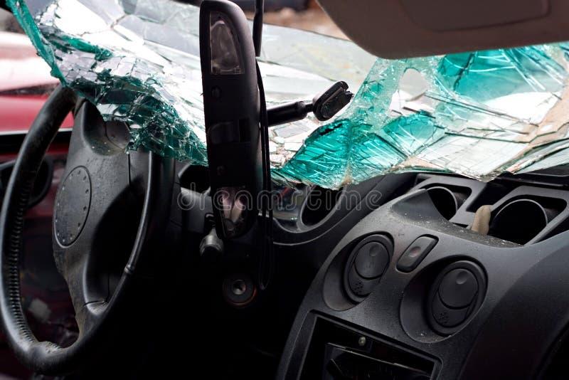 Interior causado um crash do automóvel foto de stock royalty free