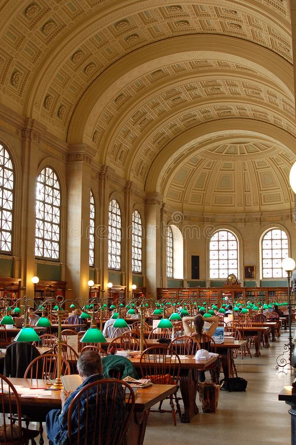 Bates Reading Room in Boston Public Library royalty free stock photography