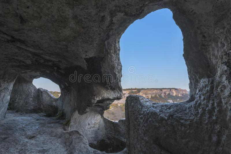 The interior of the caves of the ancient city of Eski-Kermen in Crimea royalty free stock images