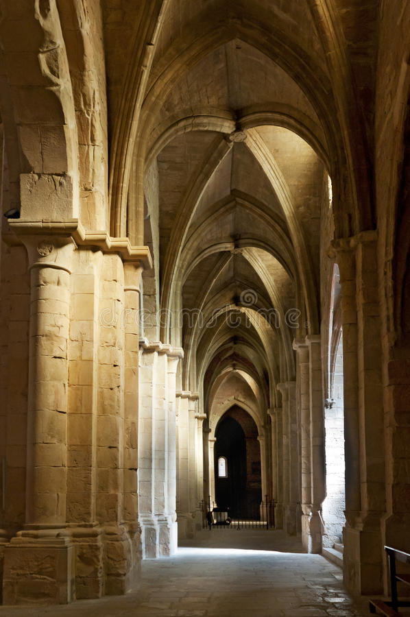 Interior ceiling and columns of old cathedral. Europe stock image