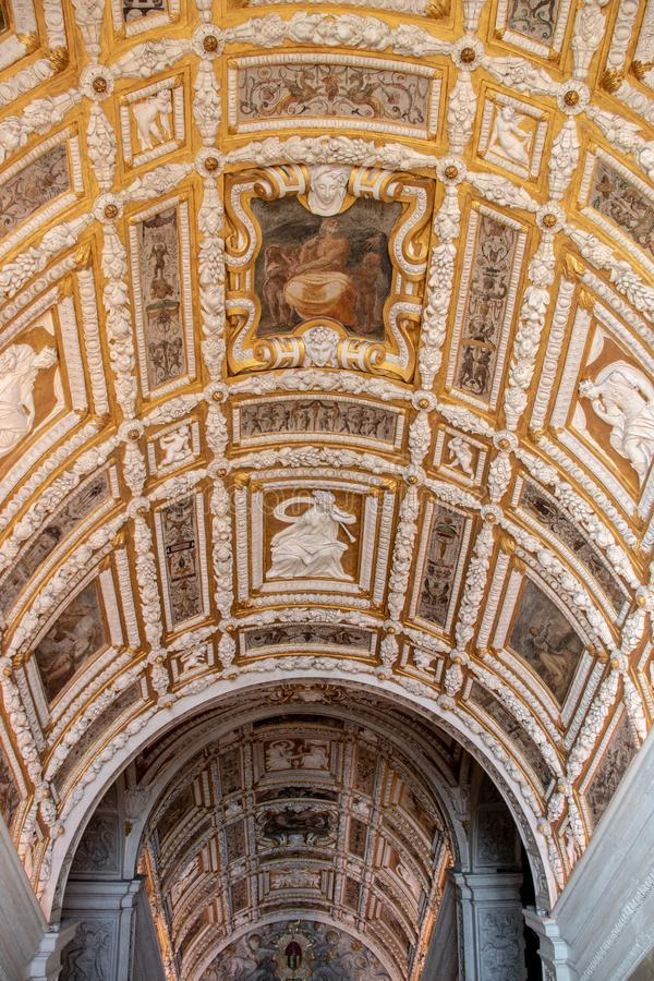 Interior Ceiling in the Doge`s Palace in Venice royalty free stock images