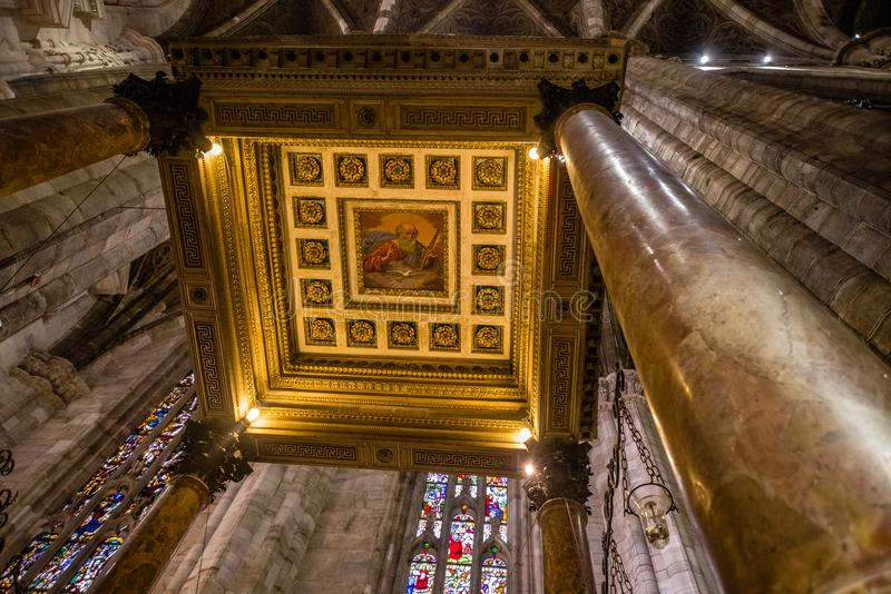 Interior ceiling painting of the Bapistry in the Duomo di Milano. royalty free stock photo