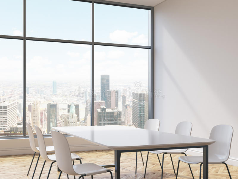 Interior with chairs and table. Interior with concrete wall, wooden floor, rectangular table, chairs and New York city view. Conference room or dining area in vector illustration