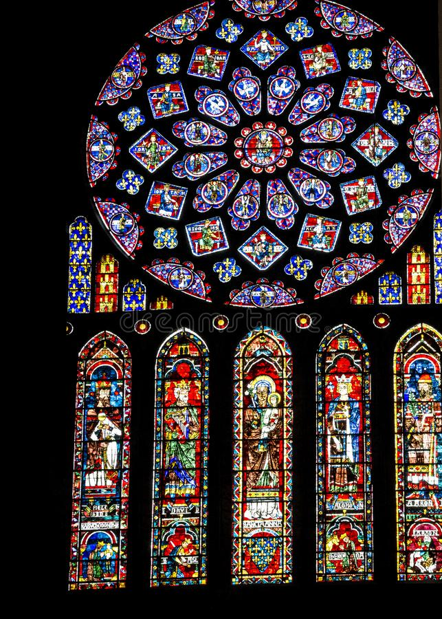 Interior of Chartres Cathedral stock photography