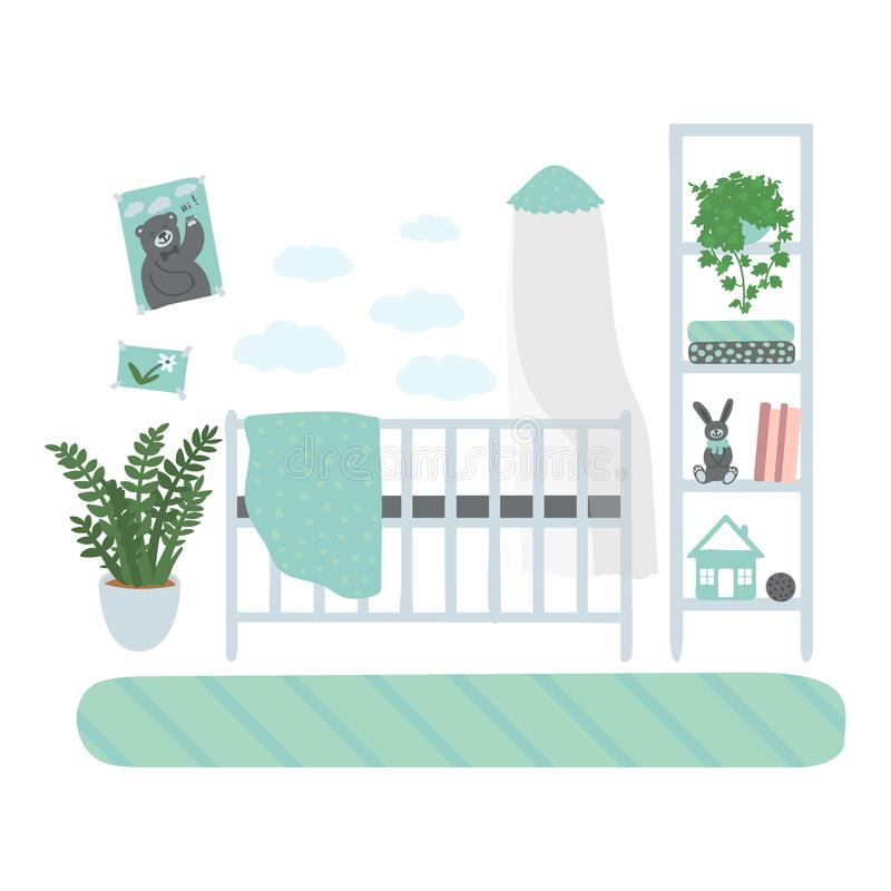 Interior children`s room. A set of furniture for the boy`s room. Furniture isolated on white background. Hand drawn royalty free illustration