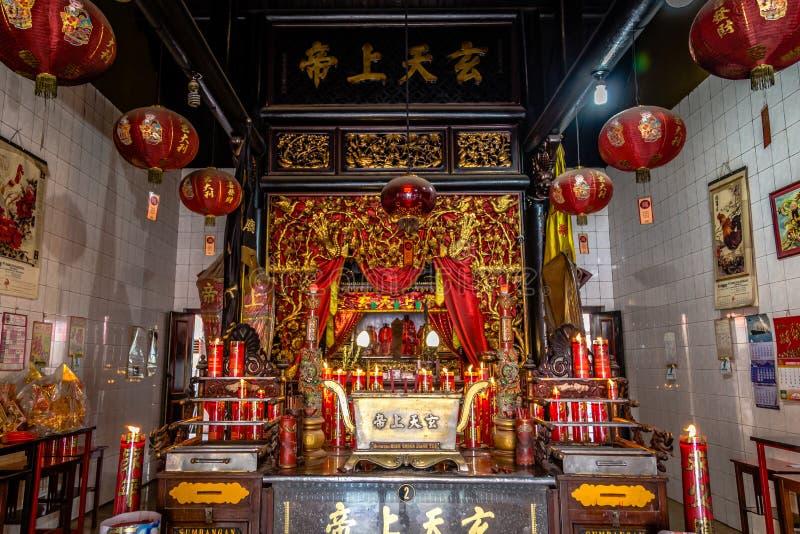 Interior Chinese temple in Indonesia. Surabaya, Indonesia - November, 04, 2017 Interior of a Chinese temple in Surabaya Java Indonesia stock image