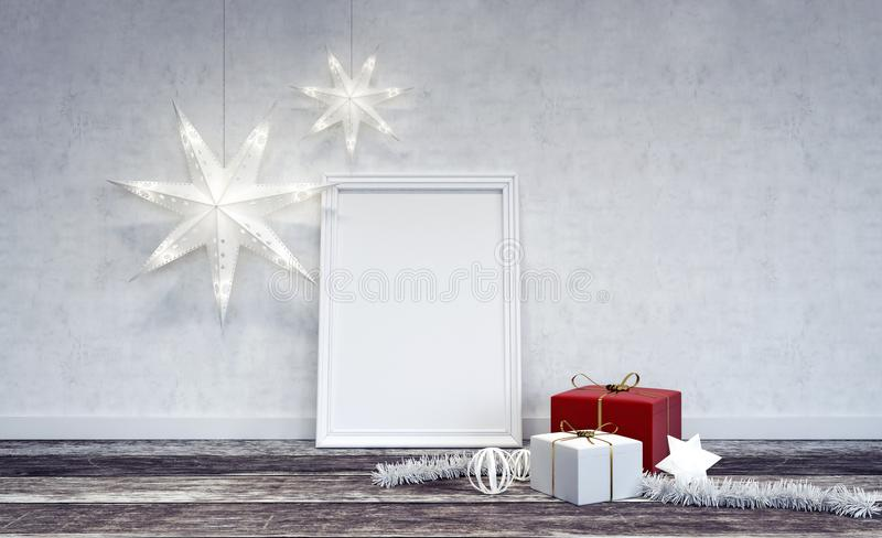 Interior Christmas decoration with white frame in center. 3D Rendering stock photo