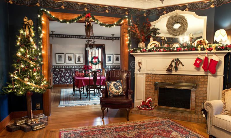 Interior Christmas Living Room & Dining Room, HDR. Victorian home Christmas interior of living room looking into dining room in High Dynamic Range royalty free stock image