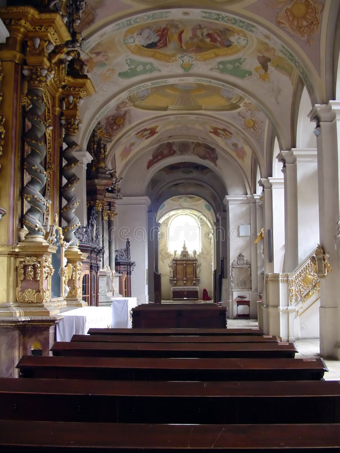 Interior of a church. On daylight stock image