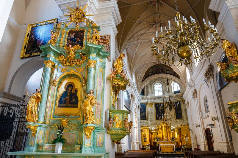 Interior of the church in the center of the old town in Lublin, Poland. Lublin, Poland, September 01, 2018: Interior of the church in the center of the old town stock photography
