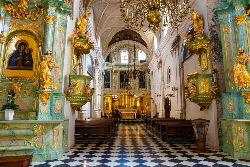 Interior of the church in the center of the old town in Lublin, Poland. Lublin, Poland, September 01, 2018: Interior of the church in the center of the old town stock photos