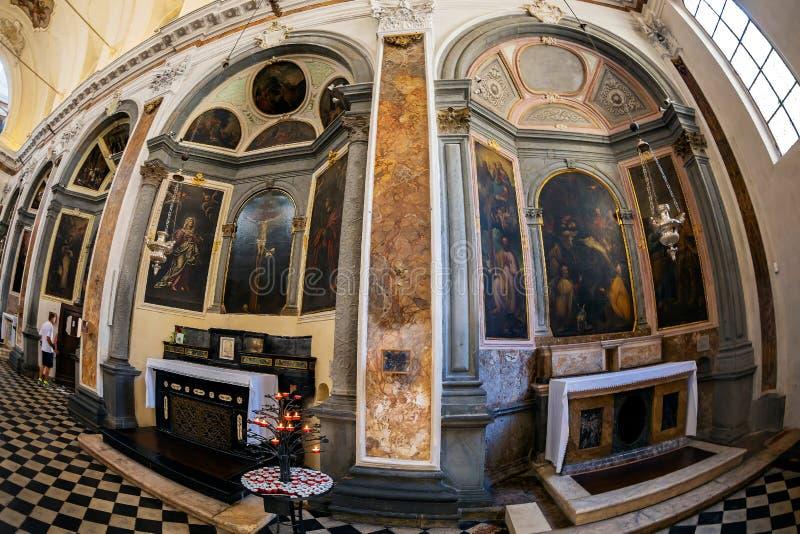 Interior of the church Chiesa di San Pancrazio, Bergamo, Italy. BERGAMO, ITALY - JUNE 30, 2019: Interior of the church Chiesa di San Pancrazio. Attested from in stock image
