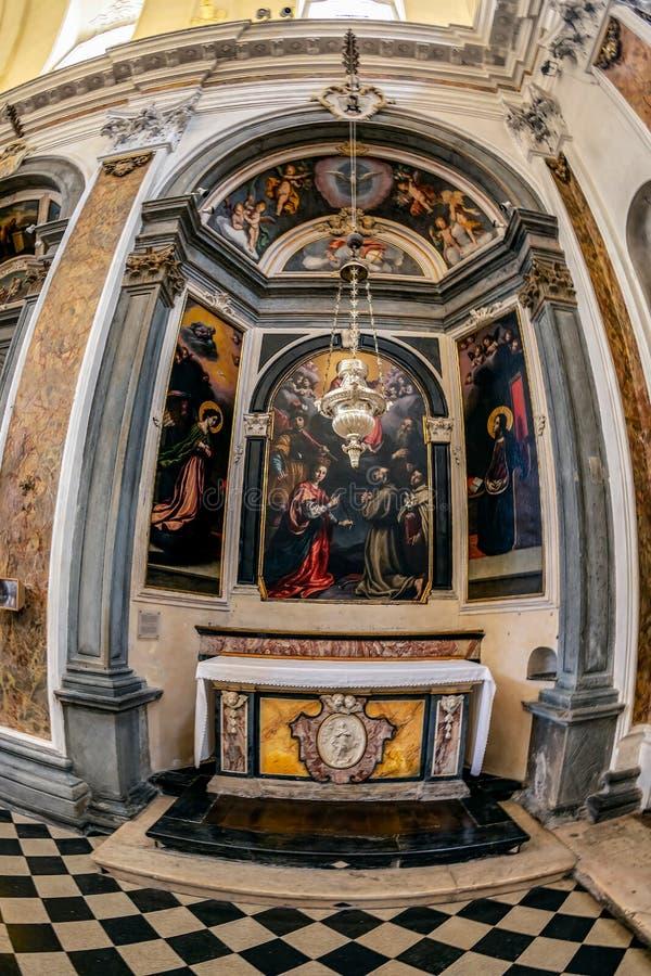 Interior of the church Chiesa di San Pancrazio, Bergamo, Italy. BERGAMO, ITALY - JUNE 30, 2019: Interior of the church Chiesa di San Pancrazio. Attested from in royalty free stock images