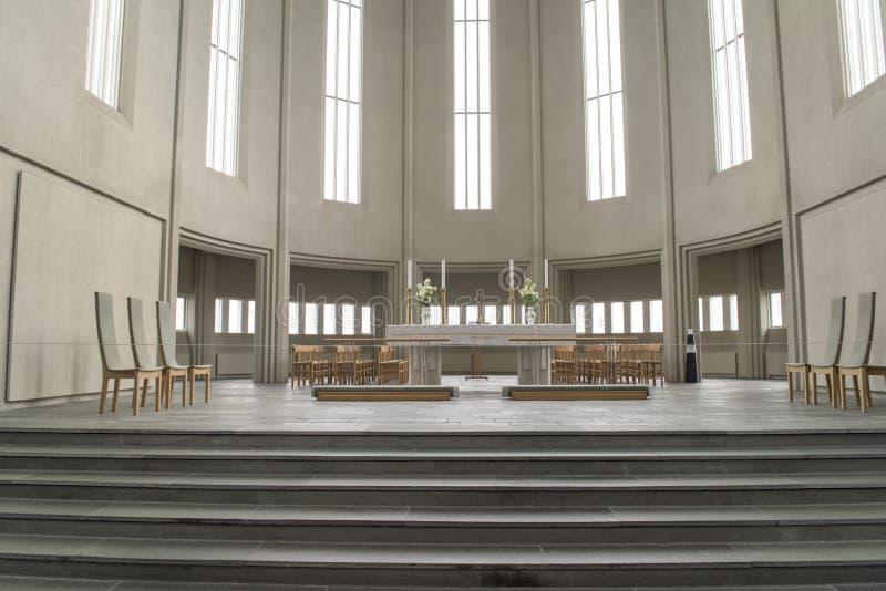 Interior Church Hallgrimskirkja Reykjavik royalty free stock photo