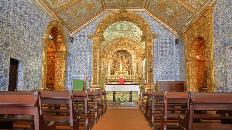 The interior of the church Igreja Matriz of Vila do Bispo, with baroque style and decorated with Azulejos. VILA DO BISPO, PORTUGAL - NOVEMBER 12, 2018: The royalty free stock images