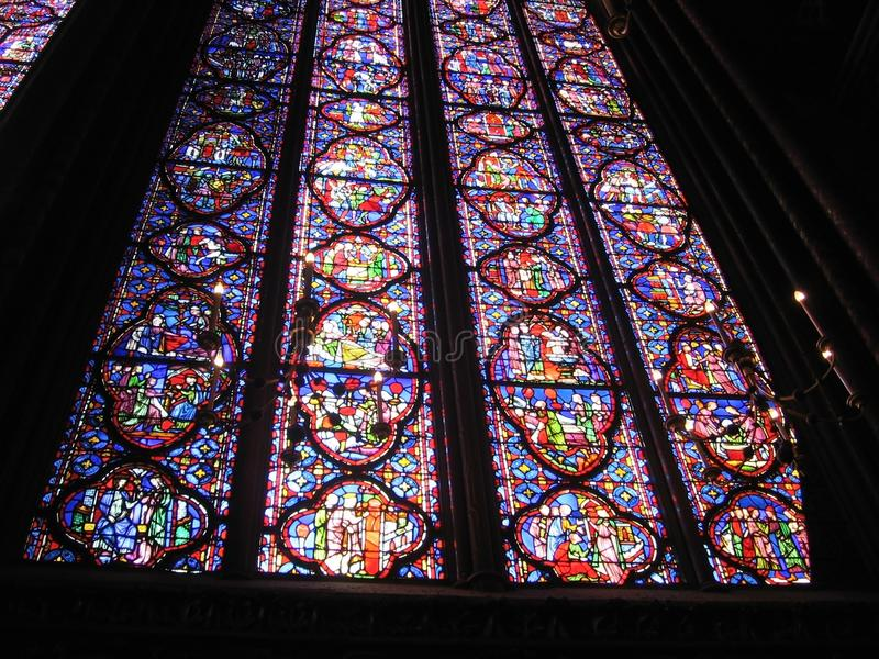 Download Interior Of The Church La Sainte Chapelle With Wonderful Stained Glass Windows Paris France