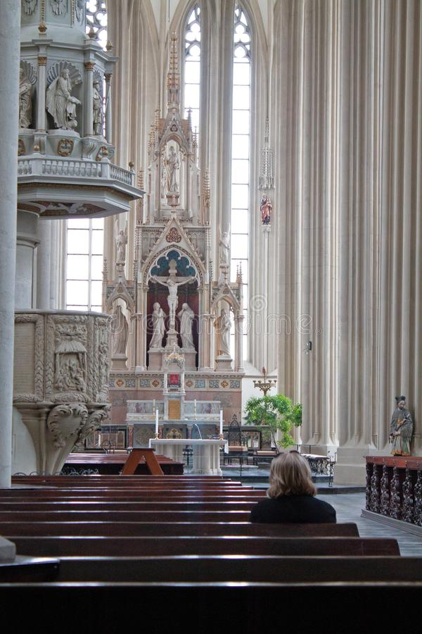 Beautiful white interior of the church in Brno city stock image