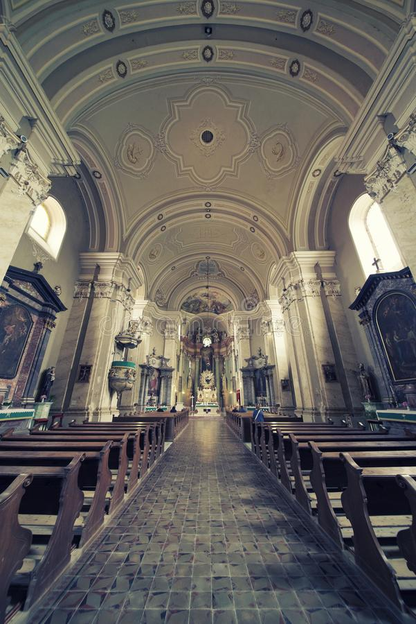 Interior of the church Maria Radna, consecrated in honor of the Blessed Virgin Mary royalty free stock images