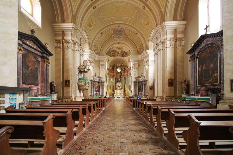 """Interior of the church Maria Radna, consecrated in honor of the Blessed Virgin Mary. Basilica """"Minor Maria"""" is monastery and place of pilgrimage royalty free stock image"""
