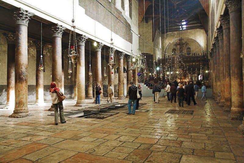 Interior of Church of the Nativity in Bethlehem royalty free stock photography