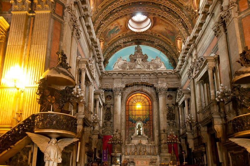 Church Nossa Senhora da Candelaria in Rio de Janeiro. Interior church Nossa Senhora da Candelaria in Rio de Janeiro royalty free stock photography