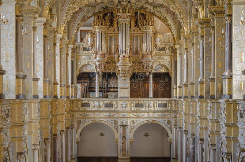 Interior of church with organ royalty free stock photos
