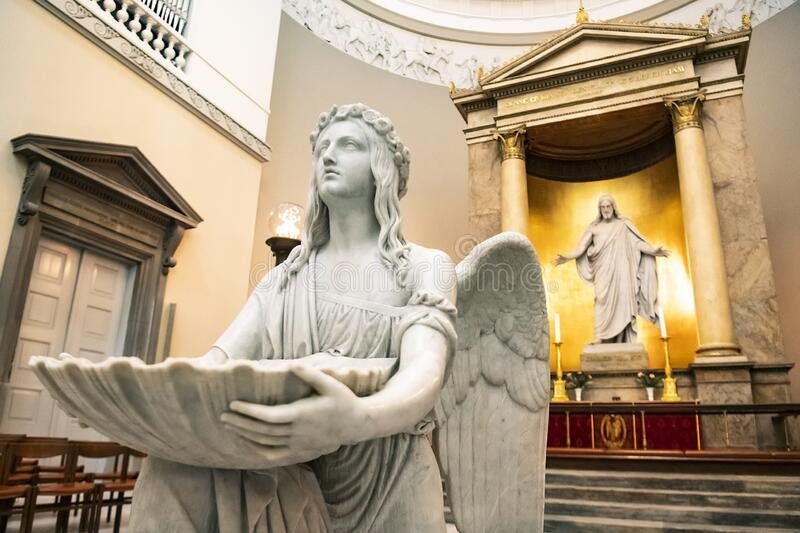An interior of Church of Our Lady or Copenhagen Cathedral. Copenhagen, Denmark. February 2020. An interior of Church of Our Lady or Copenhagen Cathedral stock image