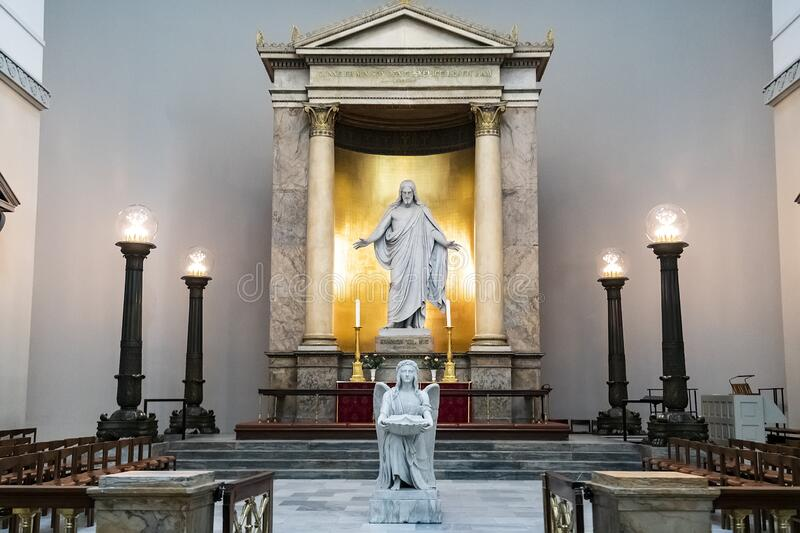An interior of Church of Our Lady or Copenhagen Cathedral. Copenhagen, Denmark. February 2020. An interior of Church of Our Lady or Copenhagen Cathedral stock images