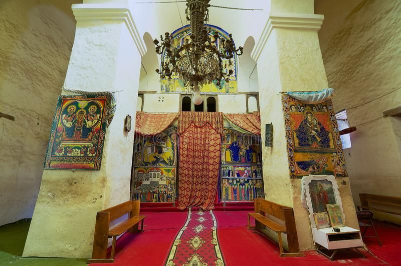 Interior of the church of Our Lady Mary of Zion, the most sacred place for all Orthodox Ethiopians in Aksum, Ethiopia. royalty free stock photos