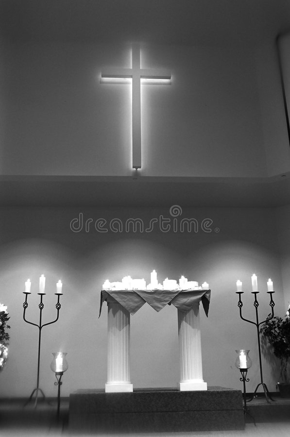 Interior of church prior to wedding stock photos