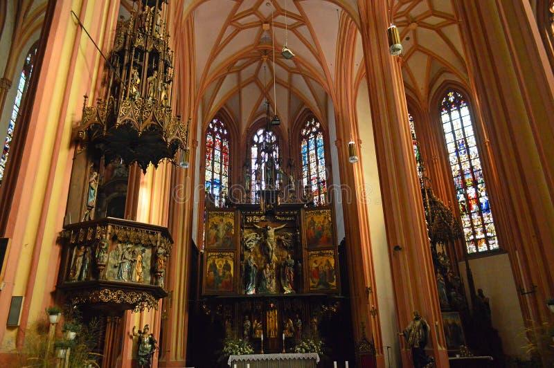 Interior Church of Saint Maurice Kostel svatého Mořice stock image