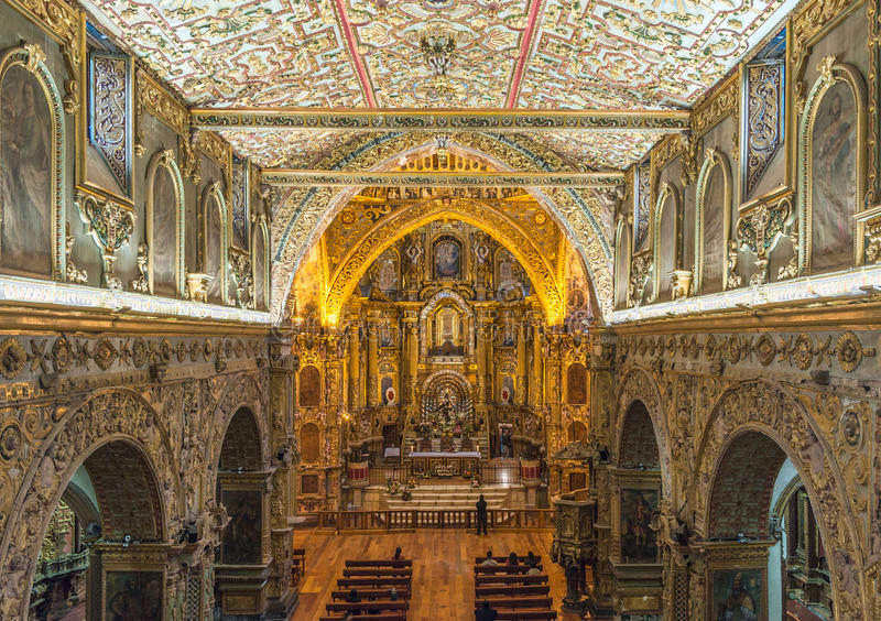 Interior of the Church of San Francisco, Quito royalty free stock photography