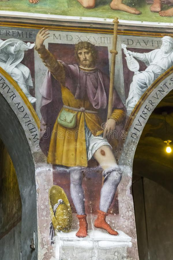 Interior of the church of Santa Maria degli Angeli, Lugano, Switzerland. LUGANO, SWITZERLAND - MAY 12, 2018: It is a fresco depicting St. Roch in the interior of royalty free stock photography