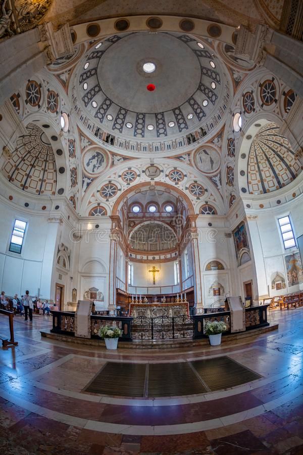 Interior of the church of Santa Maria delle Grazie, Milan, Italy stock images
