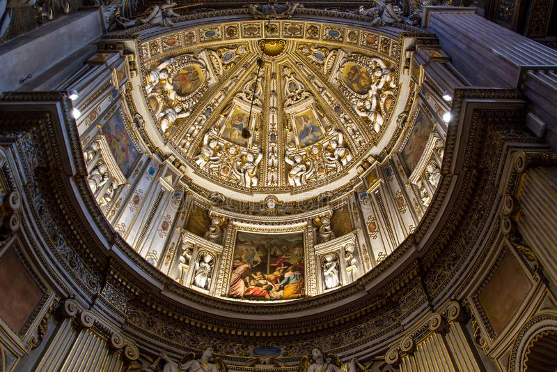 Interior of the church Santa Maria Maggiore in Bergamo, Italy royalty free stock image