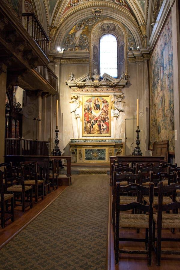 Interior of the church Santa Maria Maggiore in Bergamo, Italy royalty free stock images