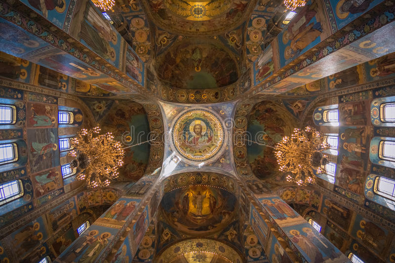 Interior of the church of the Savior on spilled Blood. royalty free stock images