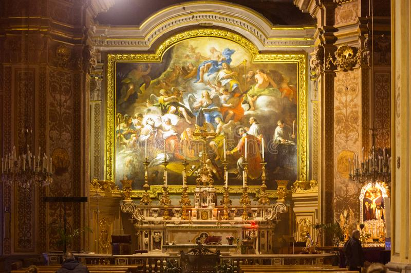 NAPLES, ITALY - OCTOBER 31, 2015: Interior of the church of St. Nicholas the Charitable. Interior of the church of St. Nicholas the Charitable. Is a church stock photo