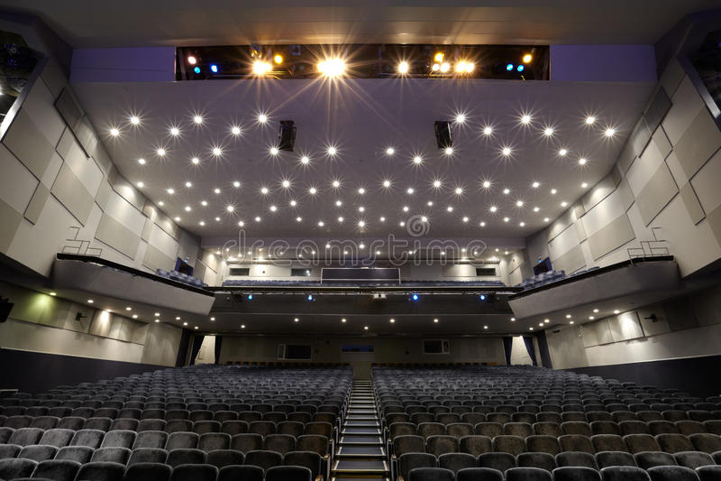 Interior of cinema auditorium. royalty free stock photography