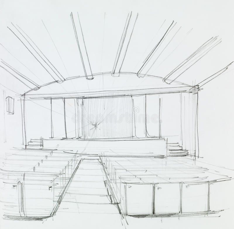 Interior of a cinema, perspective view. Architectural perspective view of cinema interior, drawn by hand royalty free illustration