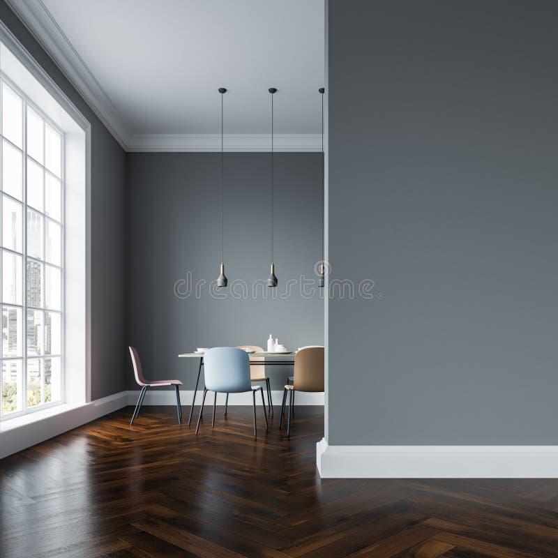 Interior cinzento da sala de jantar, cadeiras pasteis, parede ilustração royalty free