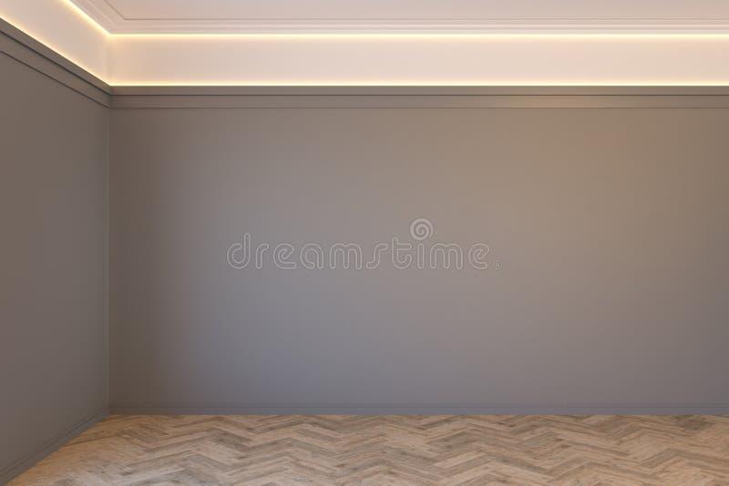 Interior cinzento vazio com parede vazia, moldes, o assoalho retroiluminado e de madeira do teto da viga de parquet ilustração stock