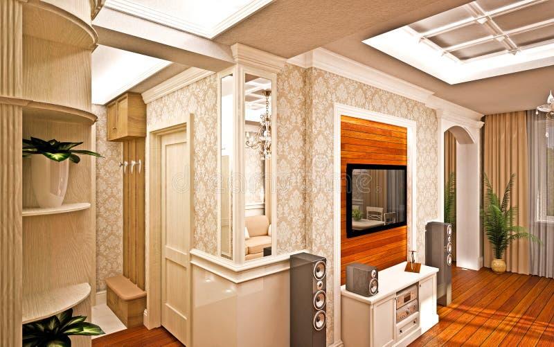 Interior clásico. ilustración del vector