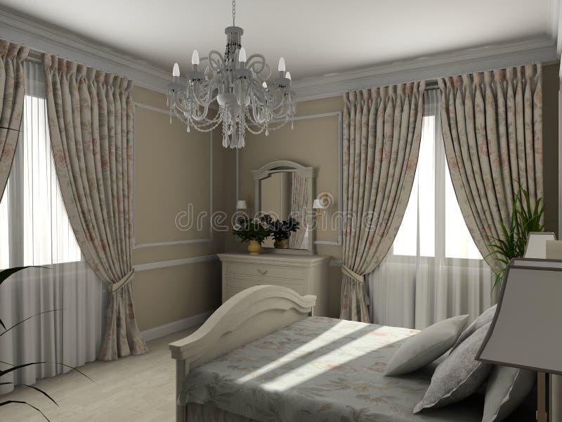 Interior clásico. 3D rinden ilustración del vector
