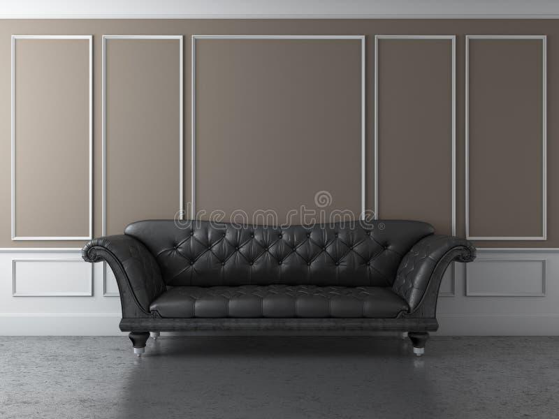 Interior clásico con el sofá negro ilustración del vector