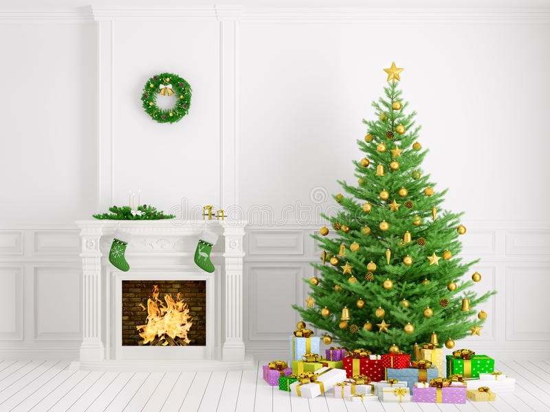 Interior clásico con la representación del árbol de navidad y de la chimenea 3d ilustración del vector