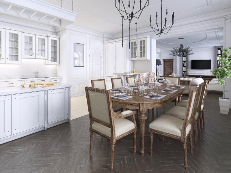 Interior clásico de lujo del comedor, cocina y sala de estar con los muebles y las lámparas blancos y marrones del metal stock de ilustración