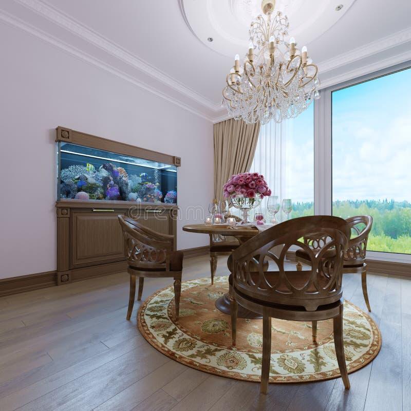 Interior clásico de lujo del comedor, de la cocina y de la sala de estar con muebles marrones y lámparas cristalinas stock de ilustración