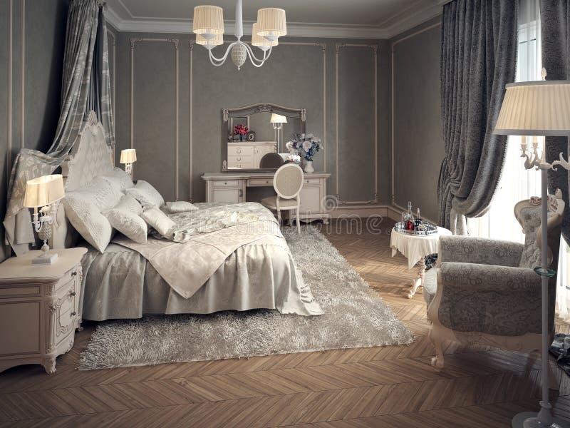 Interior clásico del dormitorio ilustración del vector